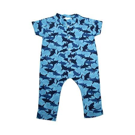 Macaquinho Bebê Tubarão G Kids Azul