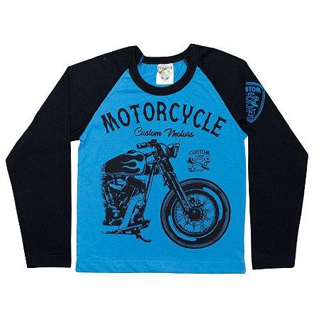 Camiseta Infantil Manga Longa Motorcicle Fantoni Azul Royal