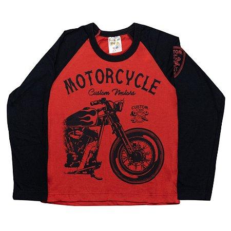 Camiseta Infantil Manga Longa Motorcicle Fantoni Vermelho
