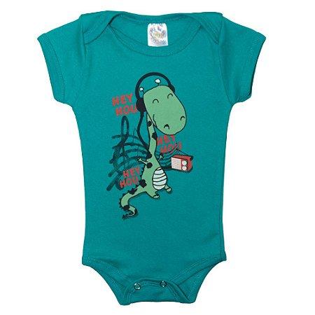 Body Bebê Dino Hey Hou Meu Bebê Verde