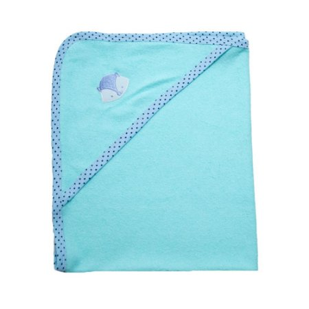 Toalha Bebê Com Aplique Jeito Inocente Verde Com Azul