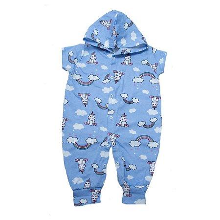 Macacão Bebê Com Capuz Unicórnio G Kids Azul