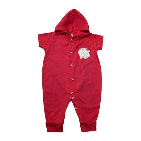Macacão Bebê Com Capuz e Aplique G Kids Vermelho