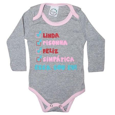 Body Bebê Linda Lolita Mescla Com Rosa