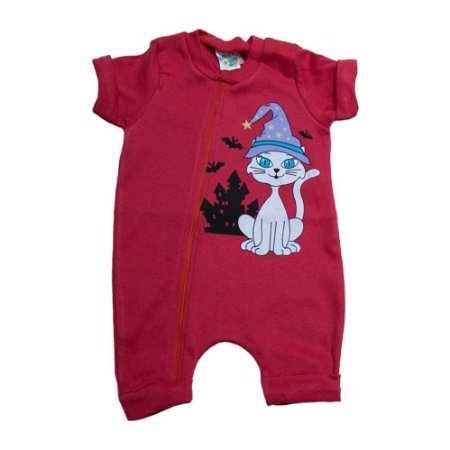 Macacão Bebê Gatinho G Kids Vermelho