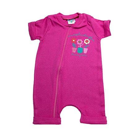 Macaquinho Bebê Florzinhas G Kids Pink