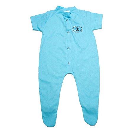 Macacão Bebê Aplique Com Pézinho G Kids Azul