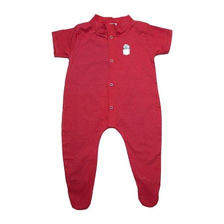 Macaquinho Bebê Aplique Com Pézinho G Kids Vermelho