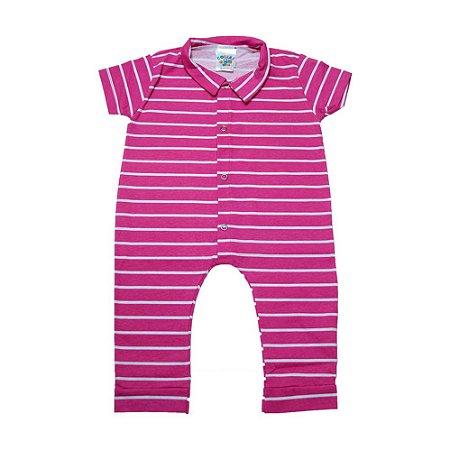 Macaquinho Bebê Listras  G Kids Pink Com Branco