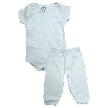 Conjunto Bebê Body e Calça Liso Meu Bebê Pérola