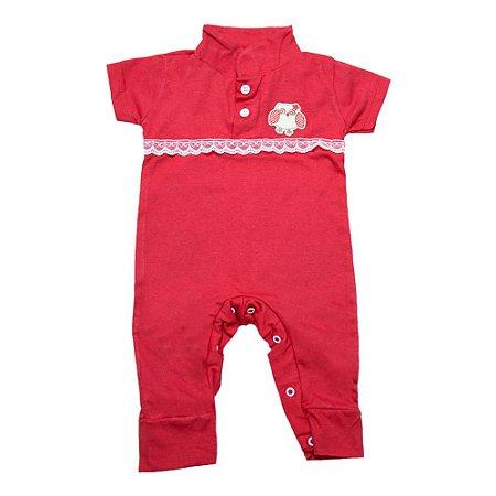 Macaquinho Bebê Com Aplique e Rendinha G Kids Vermelho