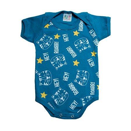 Body Bebê Tigre Jeito Infantil Azul Petróleo