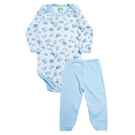 Conjunto Bebê Body Soninho  Jeito Inocente Branco e Azul