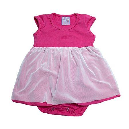 Body Vestido Bebê Com Tule Ba & Bi Pink