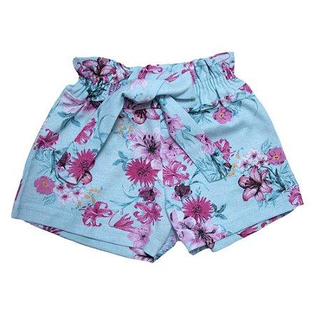 Shorts Infantil Floral Ninando Azul