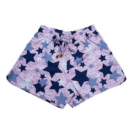 Shorts Infantil / Juvenil Estrelas Ninando Rosa