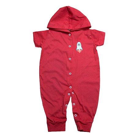 Macacão Bebê Com Capuz Aplique G Kids Vermelho