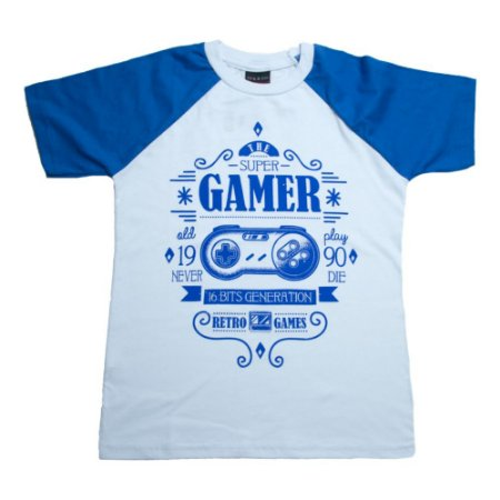Camiseta Juvenil Super Gamer Ninando Branco