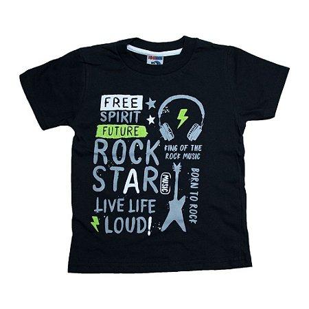 Camiseta Infantil Rock Star Ninando Preto