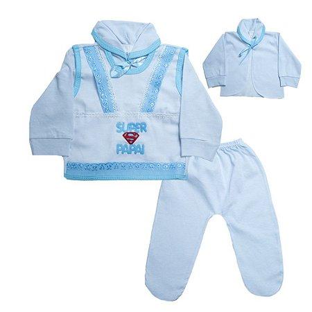 Conjunto Bebê Pagão Super Papai Radani Branco e Azul