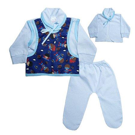 Conjunto Bebê Pagão Colete Radani Branco e Azul