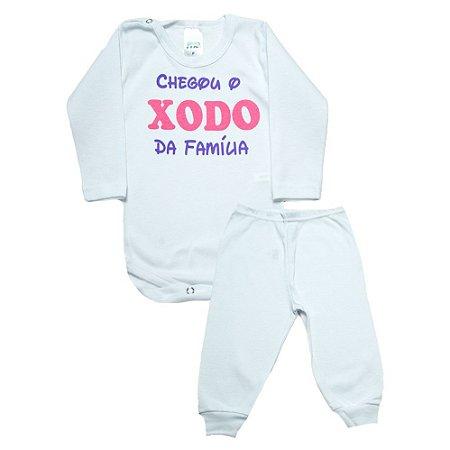 Conjunto Bebê Body Xodó Da Família Pho Branco Com Rosa