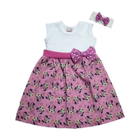 Vestido Bebê Minnie Com Faixa de cabelo Sonho do Bebê Rosa