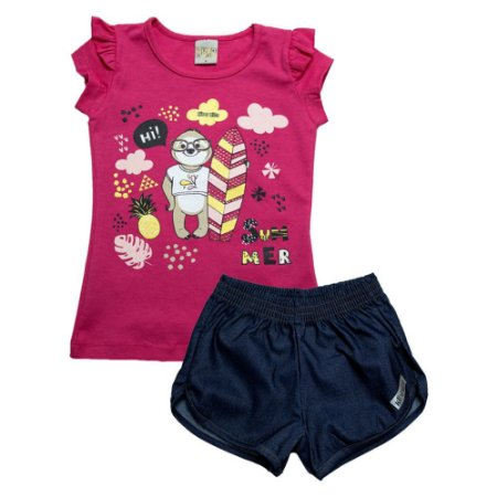 Conjunto Infantil Bicho Preguiça Kibs Kids Pink
