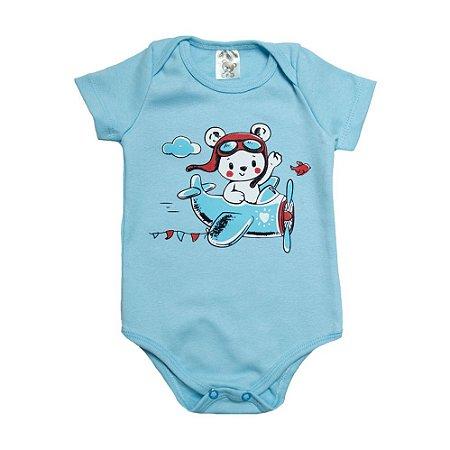 Body Bebê Ursinho Aviador Dlook Azul
