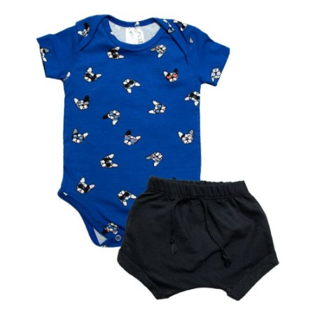 Conjunto Bebê Body Dog Uni Duni Azul Royal