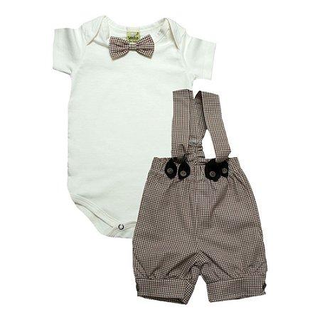 Conjunto Bebê Jardineira Sonho Do Bebê Marrom