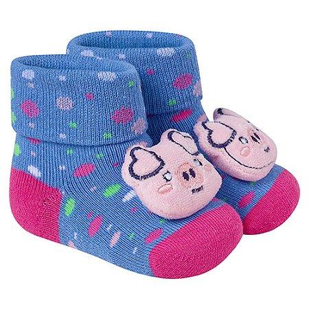 Meia Divertida Bebê Pig Winston Azul