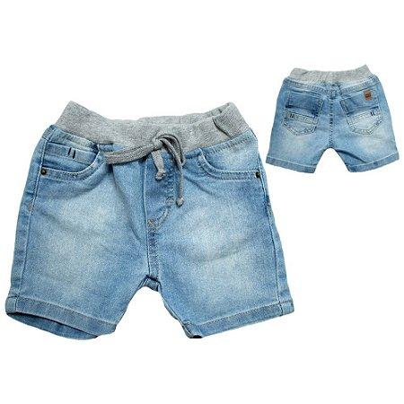 Bermuda Jeans Bebê Cós Ribana Jeito Infantil Azul