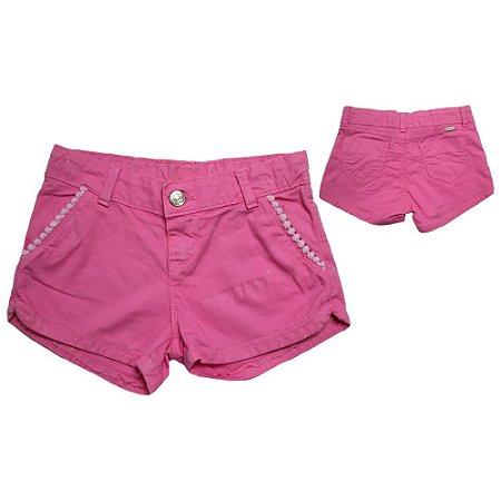 Shorts Jeans Pom Pom Jeito Infantil Rosa