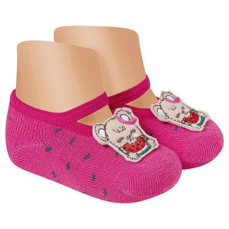 Meia Sapatilha Antiderrapante Ursinha Winston Pink