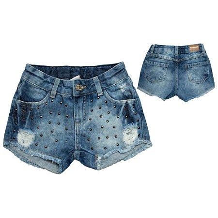 Shorts Jeans Com Tachas Jeito Infantil