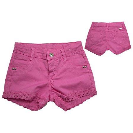 Shorts Infantil Com Renda Jeito Infantil Rosa