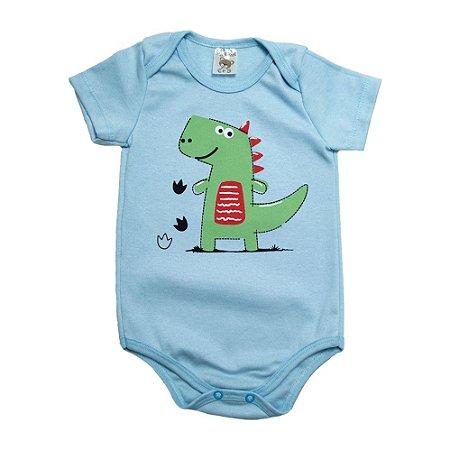 Body Bebê Dino Dlook Azul Claro