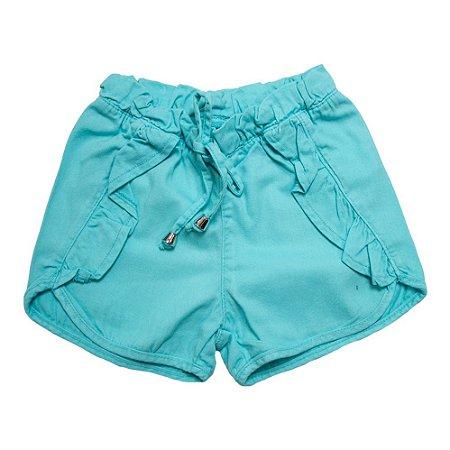 Shorts Sarja Com Babado Jeito Infantil Verde Água