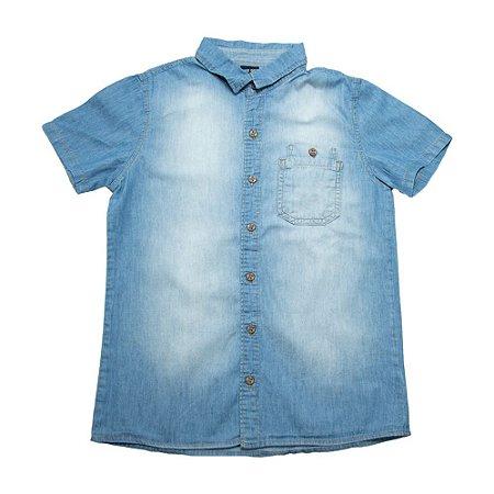 Camisete Jeans Infantil Com Bolso Duplo Jeito Infantil Azul