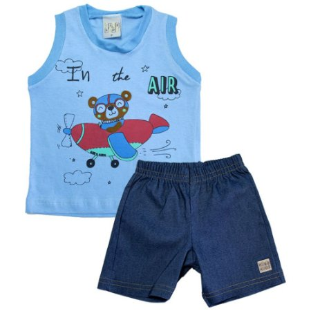 Conjunto Bebê Urso Aviador Kibs Kids Azul