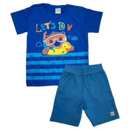 Conjunto Infantil Let's Dive Kibs Kids Azul Royal