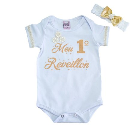 Body Bebê Meu 1° Reveillon Sonho Do Bebê Branco