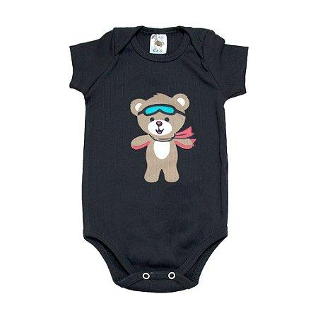 Body Bebê Urso Dlook Preto