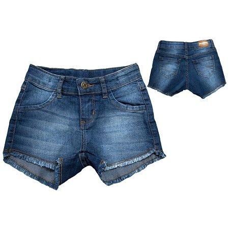 Shorts Jeans Infantil Bolso Coração Jeito Infantil Azul