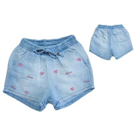 Shorts Jeans Bordado Coração Jeito Infantil Azul Claro