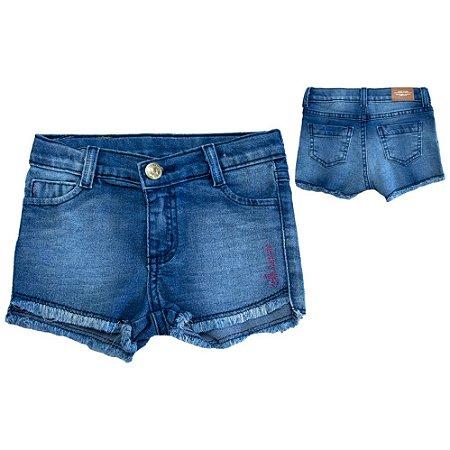 Shorts Jeans Infantil Com Bordado Jeito Infantil Azul