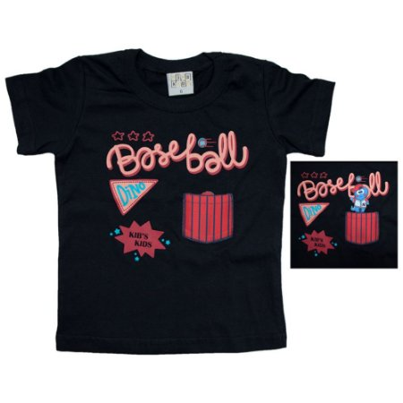 Camiseta Bebê Baiseball Kibs Kids Preto