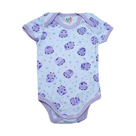 Body Bebê Coruja Jeito Infantil Branco e Lilás