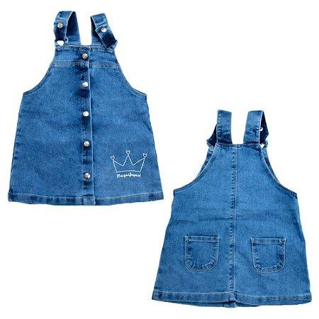 Salopete Infantil Jeans Com Estampa Jeito Infantil Azul